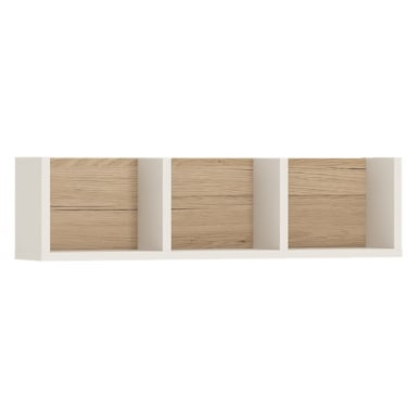 4KIDS High Gloss White & Light Oak 700x156mm Wall Shelf