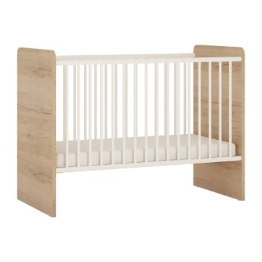 4KIDS High Gloss White & Light Oak Cot