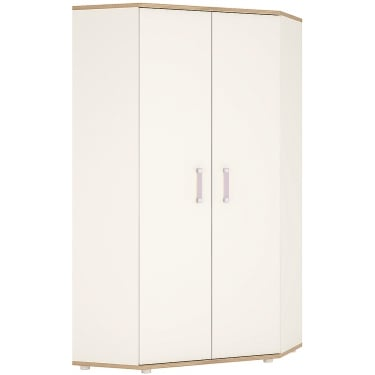 4KIDS High Gloss White & Light Oak Wardrobe with Lilac Handles