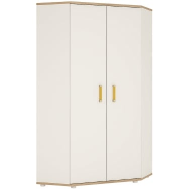 4KIDS High Gloss White & Light Oak Wardrobe with Orange Handles
