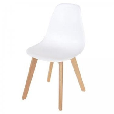 4x Aspen White Plastic Occasional Chairs with Rubberwood Legs (ASCH5W)