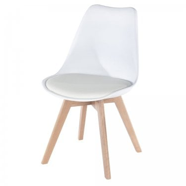 4x Aspen White Upholstered Plastic Occasional Chairs with Rubberwood Legs (ASCH2W)