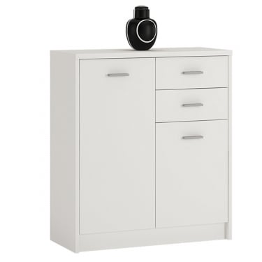 4You Pearl White 2 Drawer 2 Door Cupboard