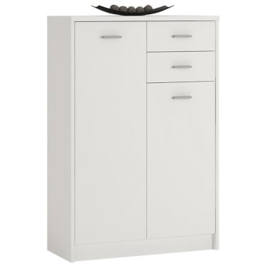4You Pearl White 2 Drawer 2 Door Tall Cupboard