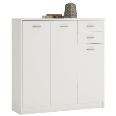 4You Pearl White 2 Drawer 3 Door Tall Cupboard
