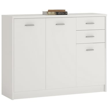 4You Pearl White 2 Drawer 3 Door Wide Cupboard