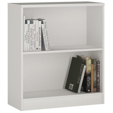 4You Pearl White Low Wide Bookcase