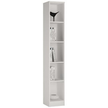 4You Pearl White Tall Narrow Bookcase