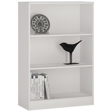 4You Pearl White Wide Bookcase