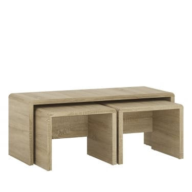 4You Sonoma Oak Wide Nest Of Tables 3-Pack