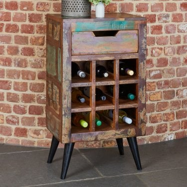 Acaba 1 Drawer Wine Cabinet, Reclaimed Timber