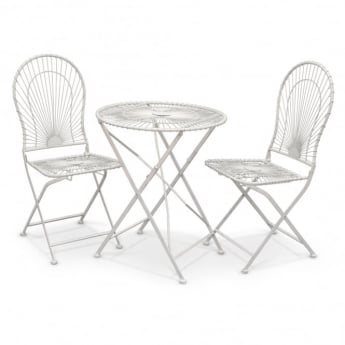 Richmond Garden Alessia Antique Ivory Metal 3 Piece Folding Patio Bistro Set