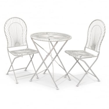 Alessia Antique Ivory Metal 3 Piece Folding Patio Bistro Set