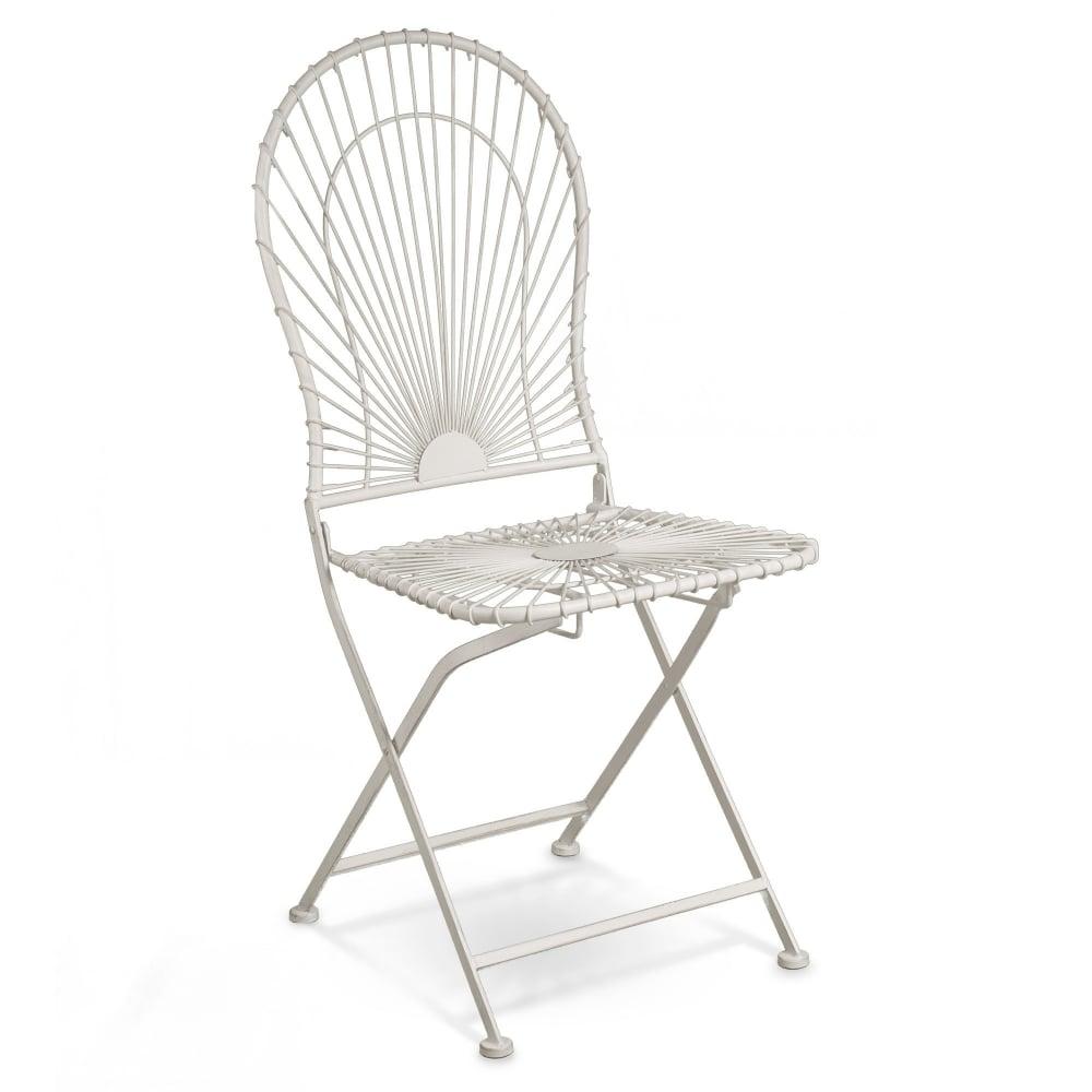 Alessia Antique Ivory Metal Folding Patio Bistro Chair