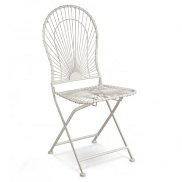 Alessia Antique Ivory Metal Folding Patio Bistro Chair (Pair)