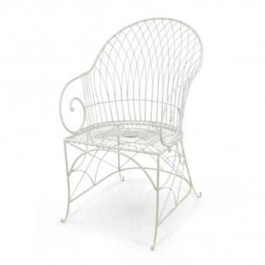 Alessia Antique Ivory Metal Patio Armchair (Pair)