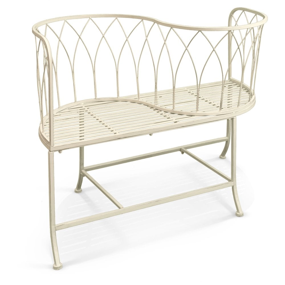 Metal Patio Furniture.Alessia Antique Ivory Metal Patio Love Seat