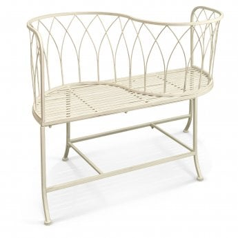 Richmond Garden Alessia Antique Ivory Metal Patio Love Seat