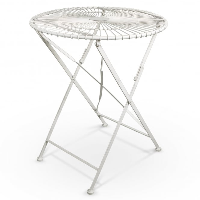 Alessia Outdoor Round Bistro Table, Ivory