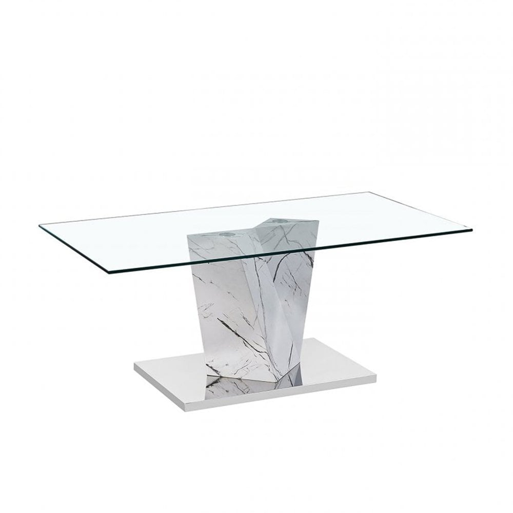 Alpha Coffee Table Clear Glass White Marble Effect Base