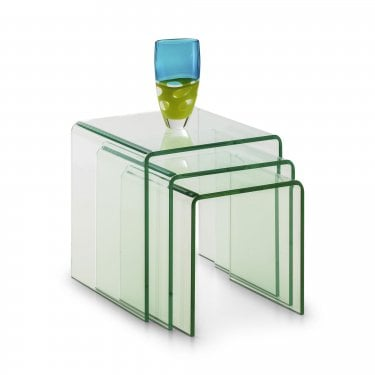 Amalfi Clear Glass Nest of Tables