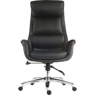 Ambassador Black Reclining Executive Chair with Chrome Base