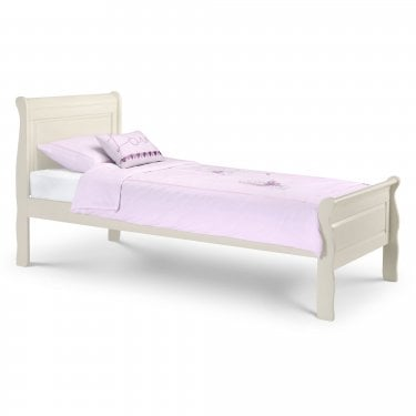 Amelia White Stone Single Sleigh Bed