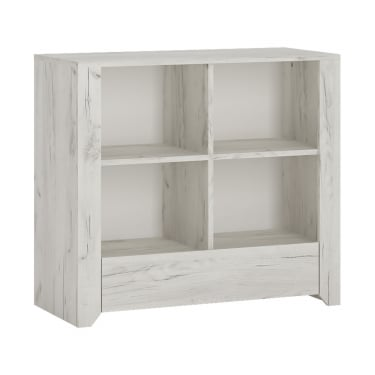 Angel White Craft Oak 1 Drawer Low Bookcase
