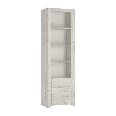 Angel White Craft Oak 3 Drawer Tall Narrow Bookcase