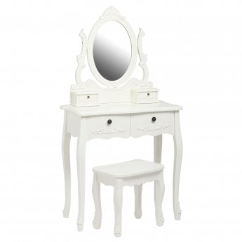 LPD Furniture Antoinette 4 Drawer Dressing Table, White