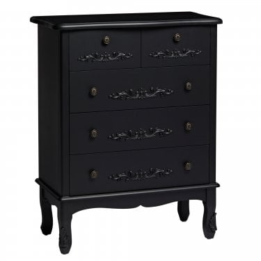 Antoinette Large Matt Black 5 Drawer Chest