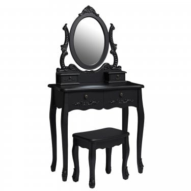 Antoinette Matt Black Dressing Table Set