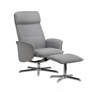 Aria Grey Linen Recliner Chair & Footstool