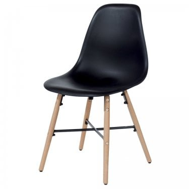 Aspen Black Plastic Occasional Chair Pair with Metal Cross & Rubberwood Legs