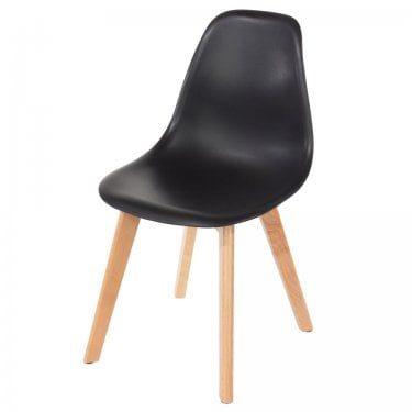 Aspen Black Plastic Occasional Chair Pair with Rubberwood Legs