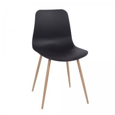 Aspen Black Plastic Occasional Chair Pair with Wood Effect Metal Legs