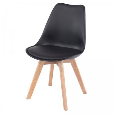 Aspen Black Upholstered Plastic Occasional Chair Pair with Rubberwood Legs
