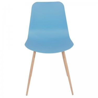 Aspen Blue Plastic Occasional Chair Pair with Wood Effect Metal Legs