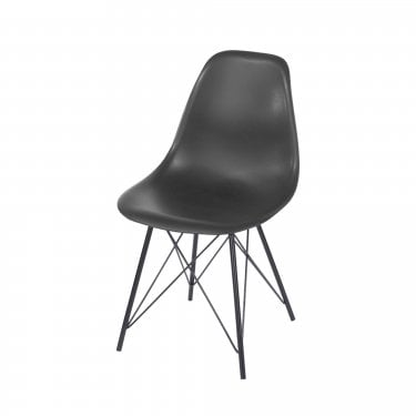 Aspen Charcoal Plastic Occasional Chair Pair with Black Metal Legs