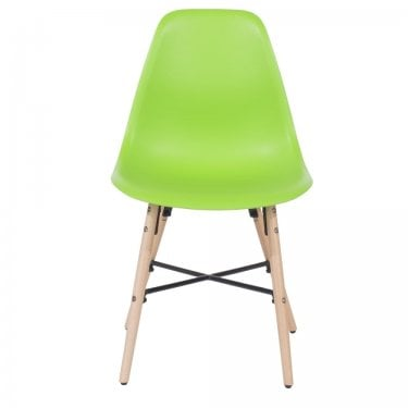 Aspen Green Plastic Occasional Chair Pair with Metal Cross & Rubberwood Legs
