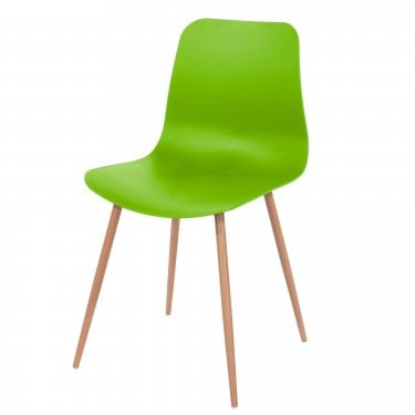 Aspen Green Plastic Occasional Chair Pair with Wood Effect Metal Legs