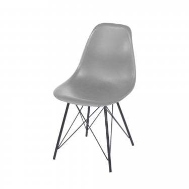 Aspen Grey Plastic Occasional Chair Pair with Black Metal Legs