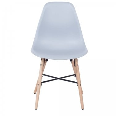 Aspen Grey Plastic Occasional Chair Pair with Metal Cross & Rubberwood Legs