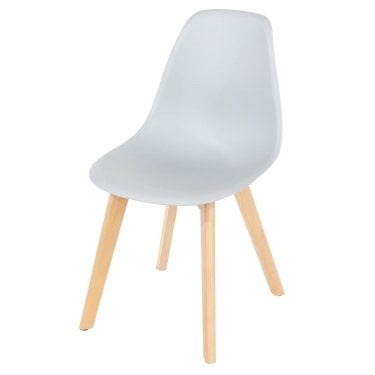 Aspen Grey Plastic Occasional Chair Pair with Rubberwood Legs