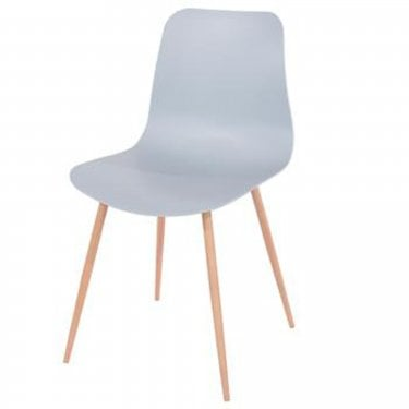 Aspen Grey Plastic Occasional Chair Pair with Wood Effect Metal Legs