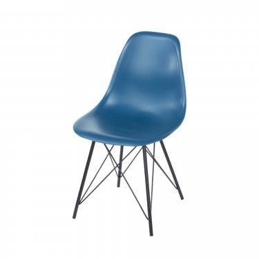 Aspen Navy Blue Plastic Occasional Chair Pair with Black Metal Legs