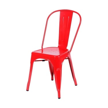 Aspen Red Metal Occasional Chair Pair with Metal Legs