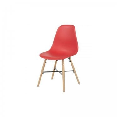 Aspen Red Plastic Occasional Chair Pair with Metal Cross & Rubberwood Legs