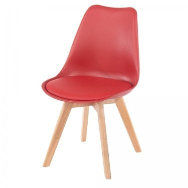 Aspen Red Upholstered Plastic Occasional Chair Pair with Rubberwood Legs
