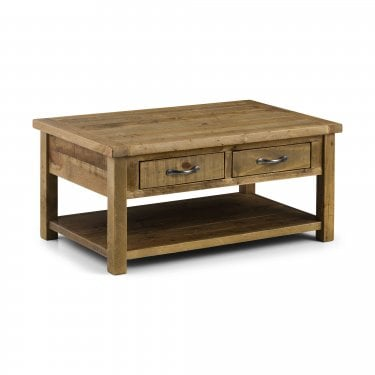 Aspen Rustic Pine 2 Drawer 1 Shelf Coffee Table